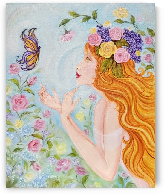 Beautiful Woman with Long Flowing Red Hair & Butterfly by Norma Roman Creations