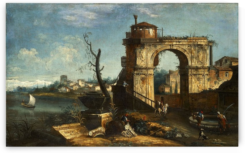 Capriccio View with triumphal Arch and Fountain by Michele Marieschi