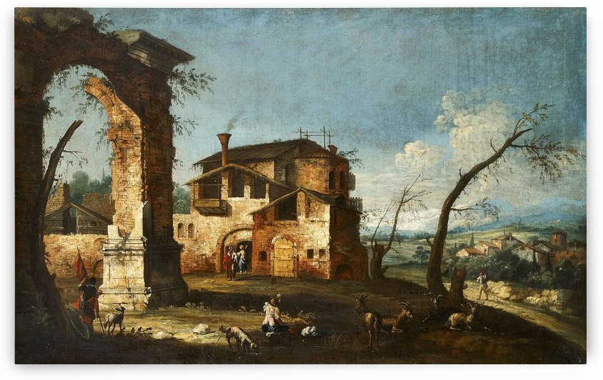 Capriccio View with Ruins of an Arch and Farmhouses by Michele Marieschi