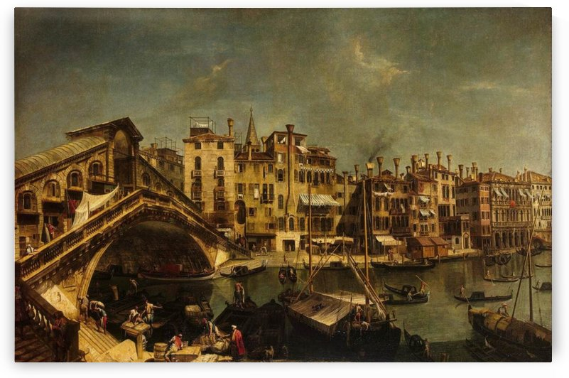 The Rialto Bridge from the Riva del Vin by Michele Marieschi