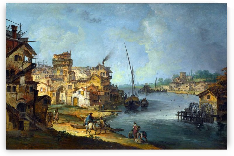 Buildings and Figures near a River with Shipping by Michele Marieschi
