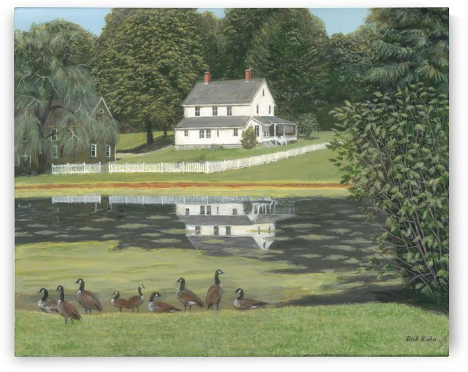 Geese at Hawley Pond - Newtown Scenes 16X20 by Rick Kuhn