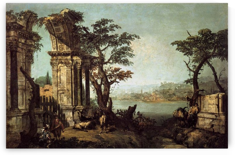 Capriccio with Classical Arch and Goats by Michele Marieschi