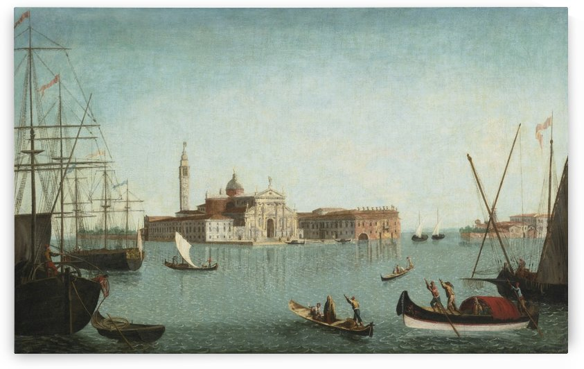 A View of the Island of San Giorgio Maggiore with gondolas and large shipping vessels in the Foreground by Michele Marieschi
