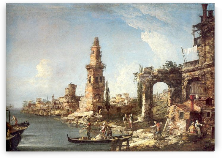 Capriccio with ships, ruins and tower by Michele Marieschi