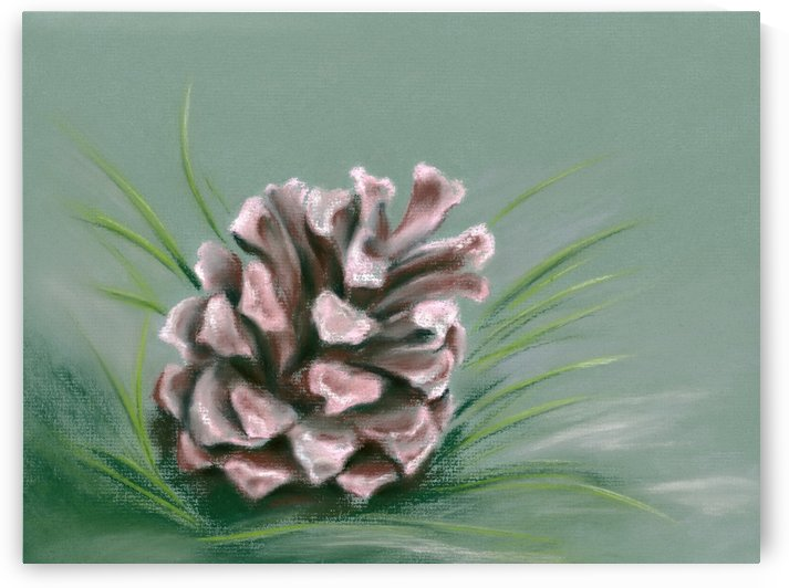 Pinecone Impression Pink and Green by MM Anderson