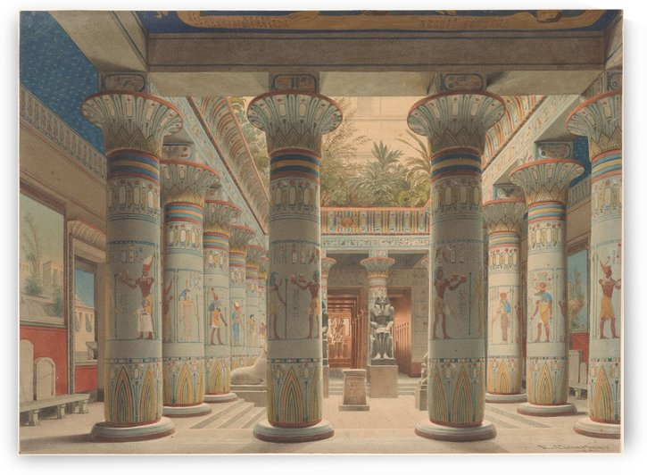 The Egyptian Temple Court in the Neues Museum, Berlin by Eduard Gaertner