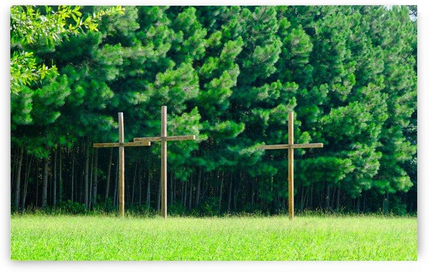 Three Wood Crosses by Darryl Brooks