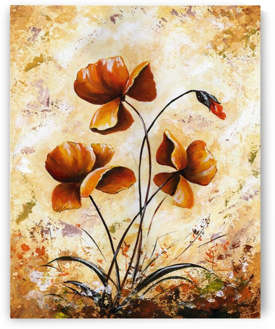 Edit Voros Painting Rusty Poppies VRG037 by Edit Voros