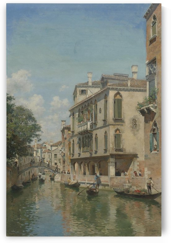 Busy day on a Venetian Canal by Federico Del Campo