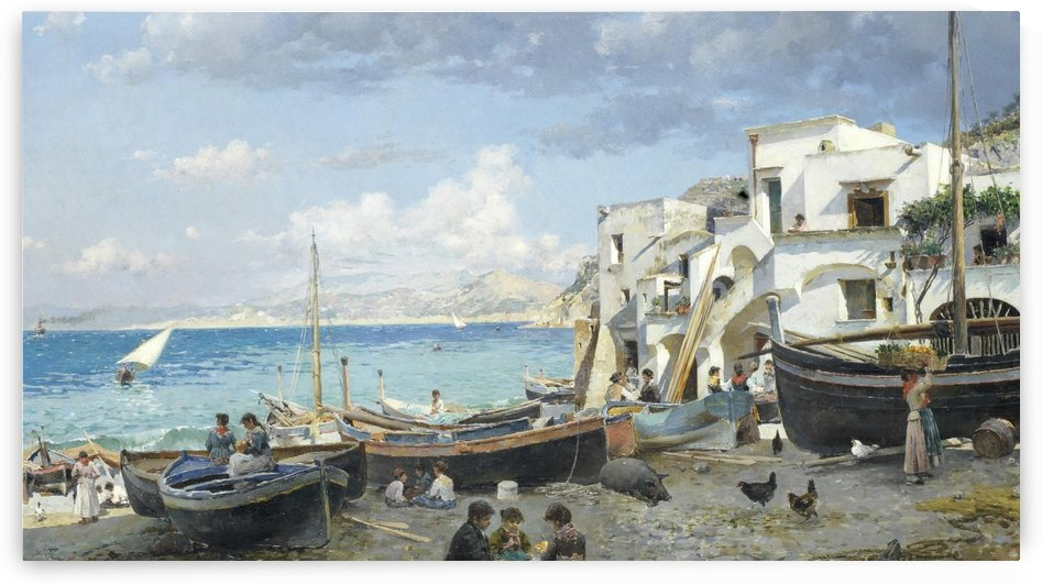 Italian coast with mountains seen in the background by Federico Del Campo