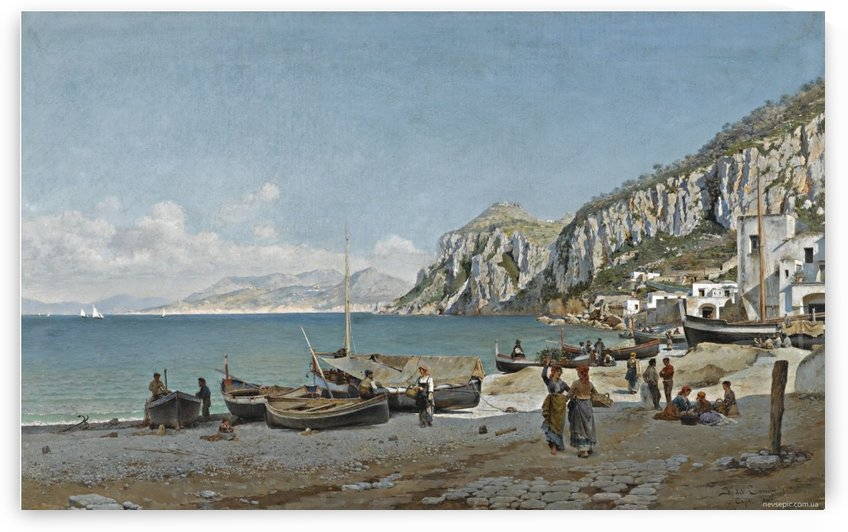 Sea view with rocks and mountains by Federico Del Campo