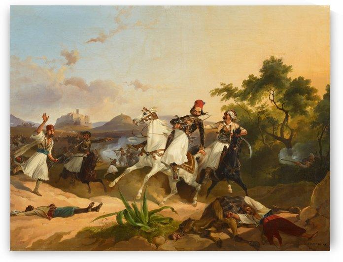 Palikaren-Kampf. Szene aus dem Griechischen Befreiungskrieg by Georg Perlberg