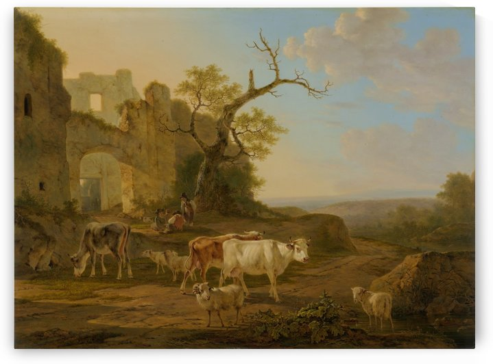 Landschap met vee bij een ruine by Jacob van Strij