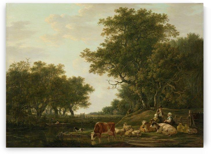 Landschap met landlieden bij hun vee en hengelaars op het by Jacob van Strij