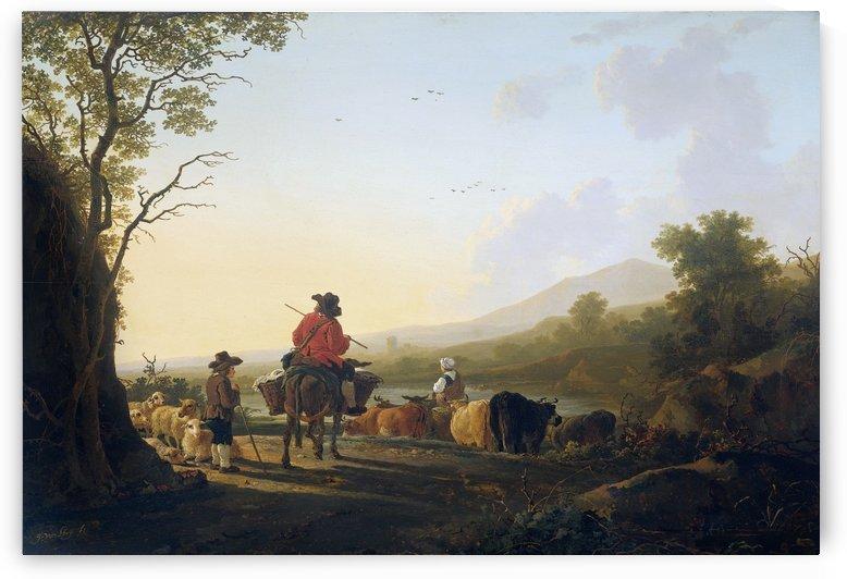 Landschap met veedrijver en schaapherder by Jacob van Strij