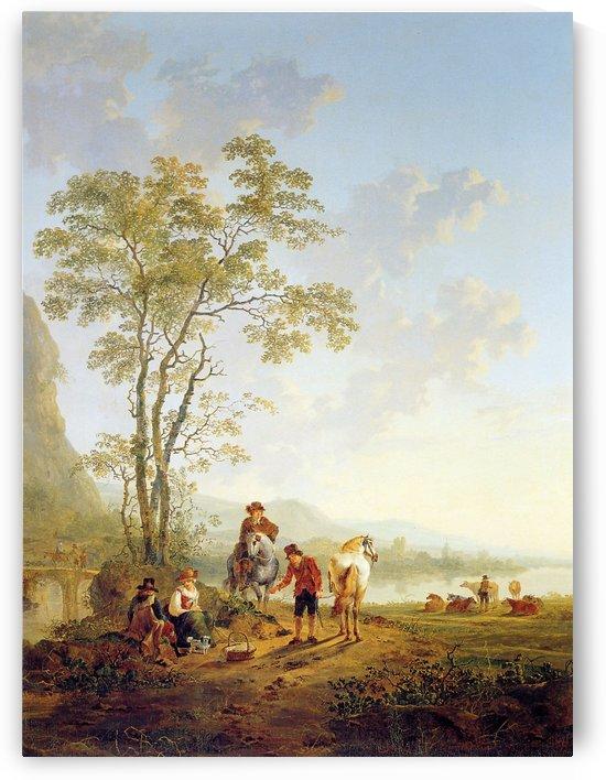 Italian landscape and ruin Merwede by Jacob van Strij