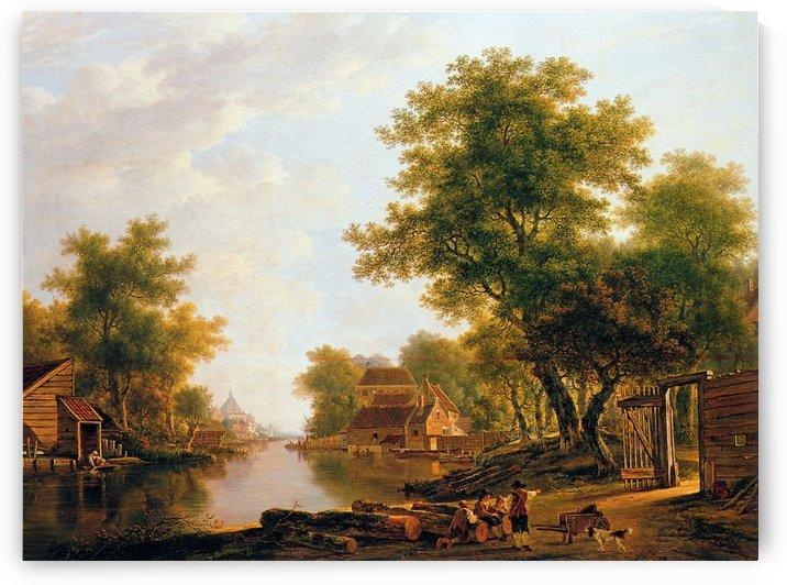 Landscape with river near Dordrecht by Jacob van Strij