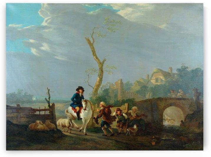 Landschap met figuren by Jacob van Strij