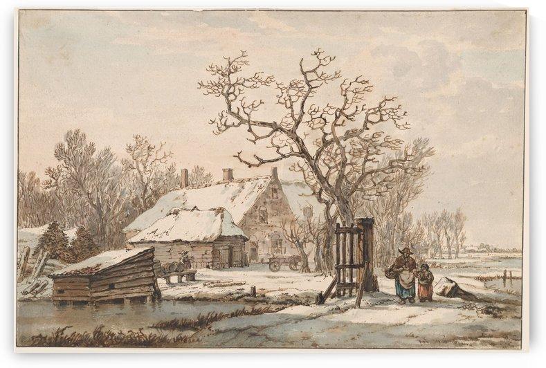 Farm in winter by Jacob van Strij