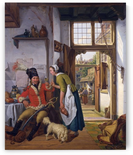 A soldier and a waitress in a tavern by Abraham van Strij