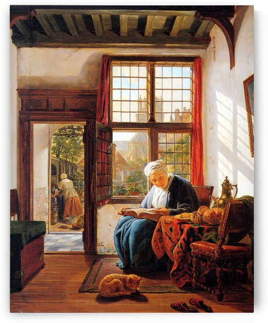 Reading old woman at window by Abraham van Strij