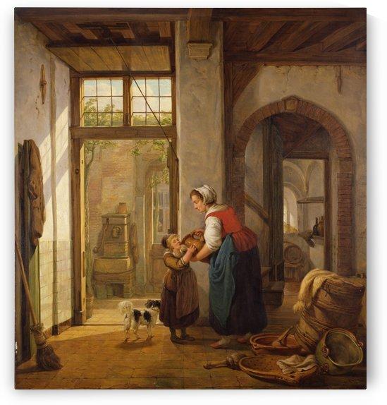 Binnenhuis met vrouw en kind by Abraham van Strij