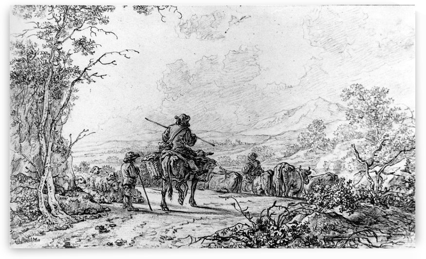 Herdsmen in landscape by Abraham van Strij