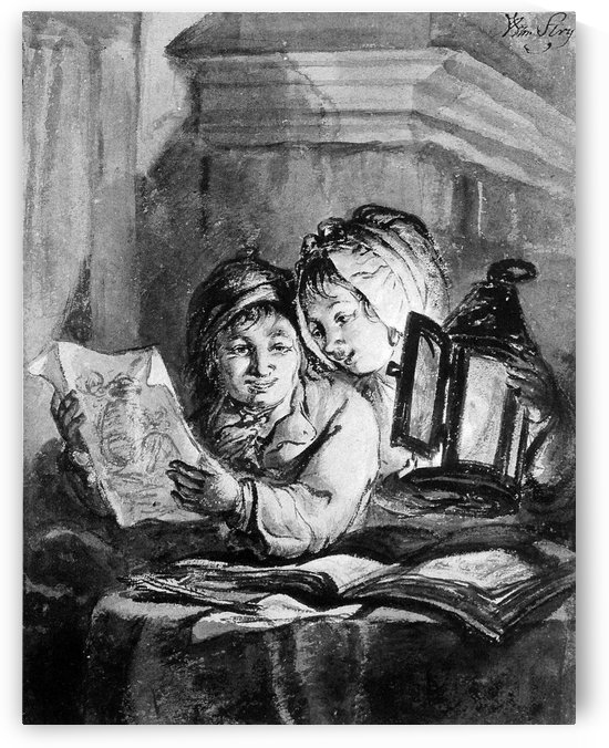 Boy and girl looking at drawings by Abraham van Strij