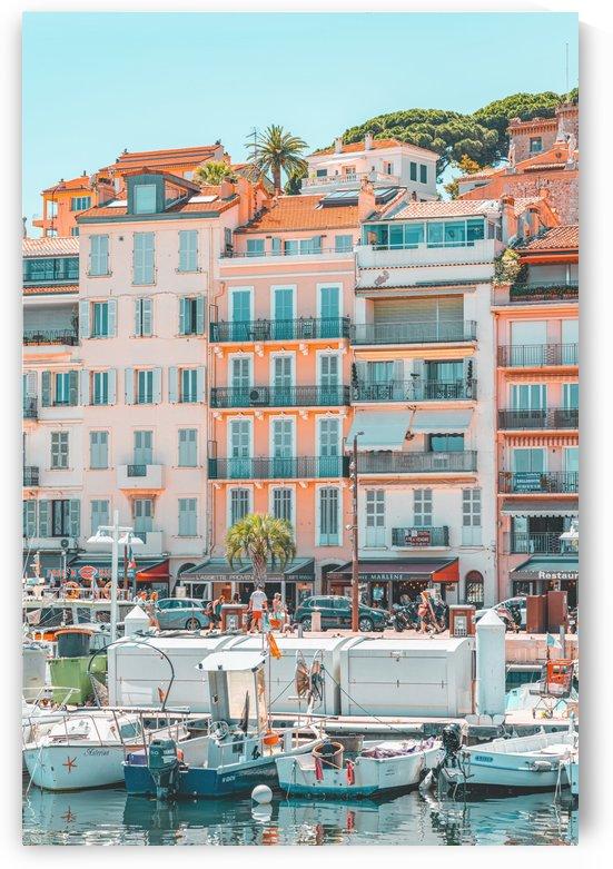 Cannes Downtown City Summer Travel Print Retro City Luxury Yachts City Marina Port France by Radu Bercan