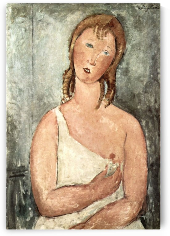 Modigliani - Girl in shirt by Modigliani