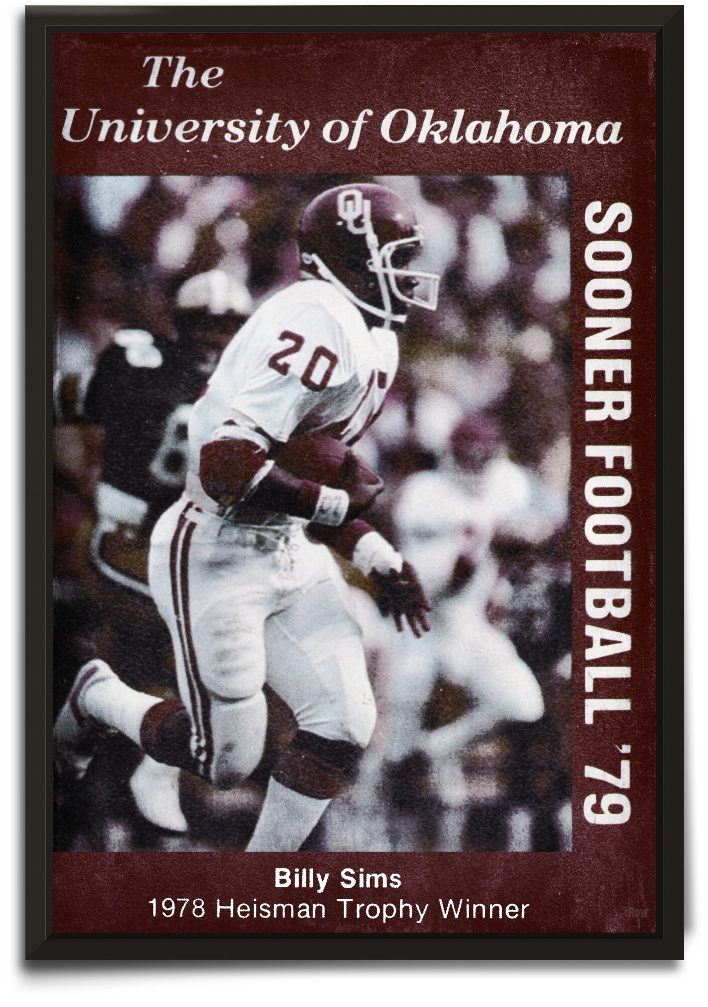 1979 Billy Sims Oklahoma Football Poster by Row One Brand
