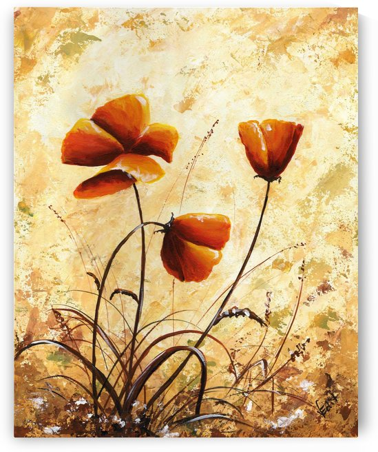 Edit Voros Painting Rusty Poppies VRG032 by Edit Voros