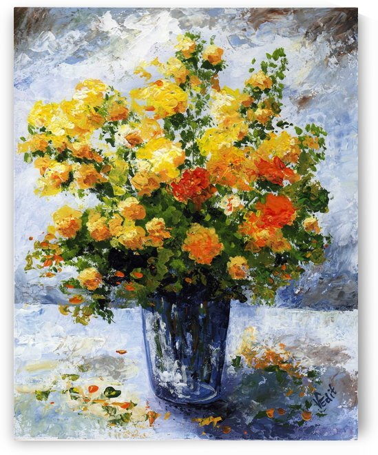Edit Voros Painting Yellow Orange Flowers VRG035 by Edit Voros