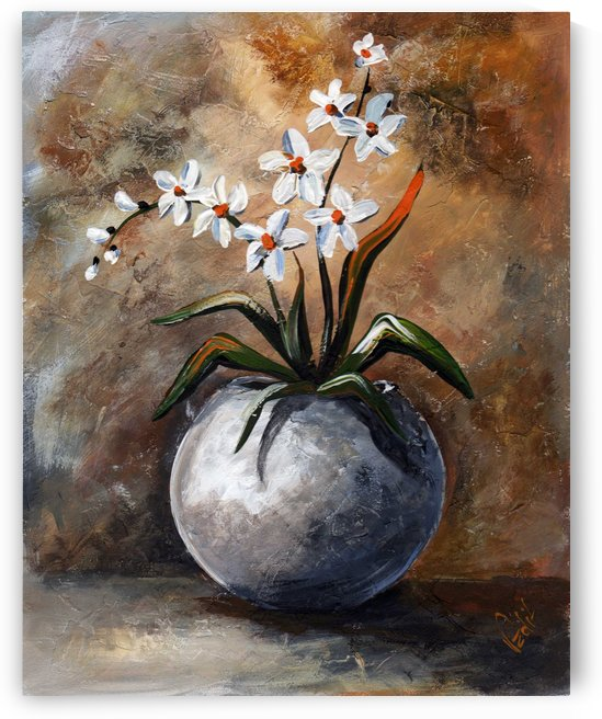Edit Voros Painting White Flowers VRG049 by Edit Voros