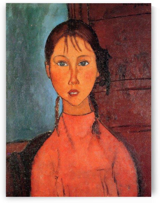 Modigliani - Girl with plaits by Modigliani