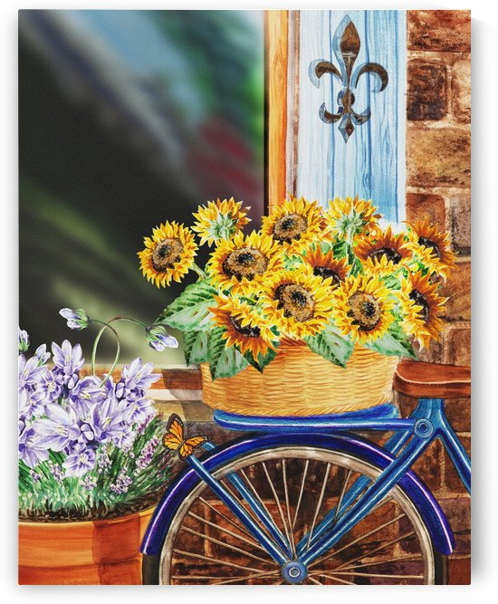 Basket Full Of Sunflowers by Irina Sztukowski