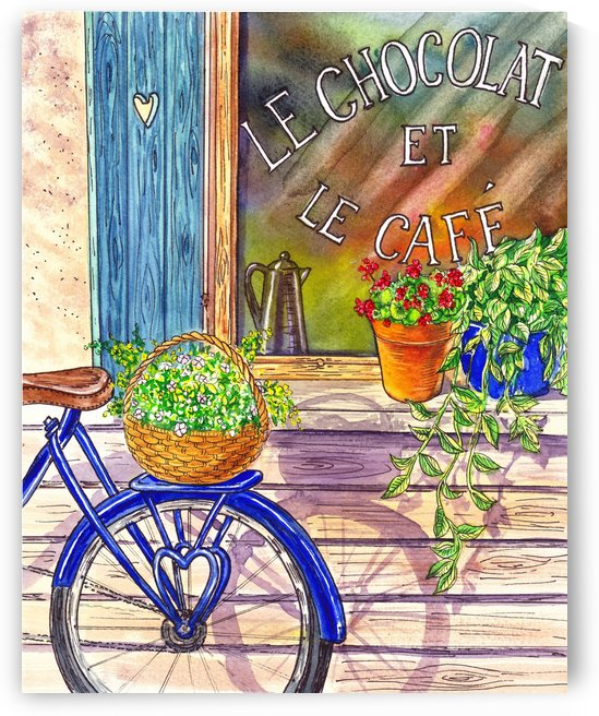 Vintage Window Le Cafe Bicycle With Basket by Irina Sztukowski