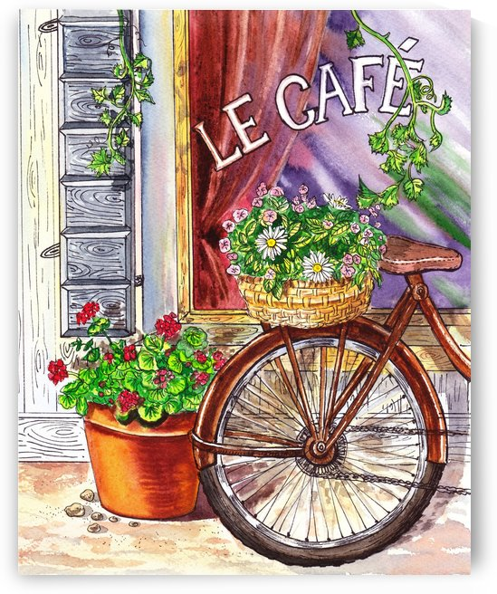 French Cafe And Bicycle With Basket by Irina Sztukowski