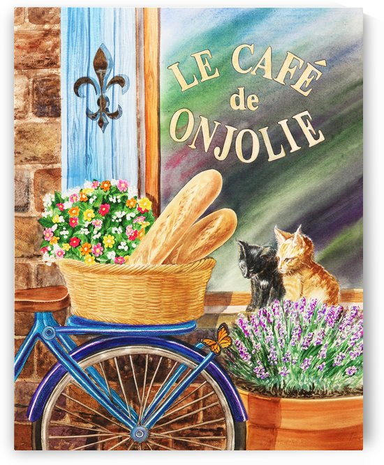Bicycle With Basket At The Cafe Window by Irina Sztukowski
