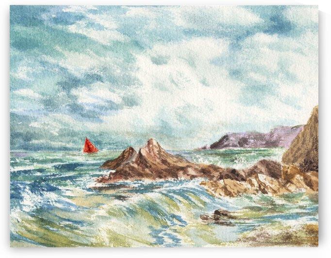 Red Sails At The Shore by Irina Sztukowski