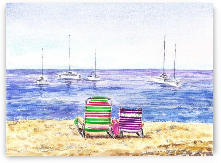 Two Chairs On The Beach by Irina Sztukowski