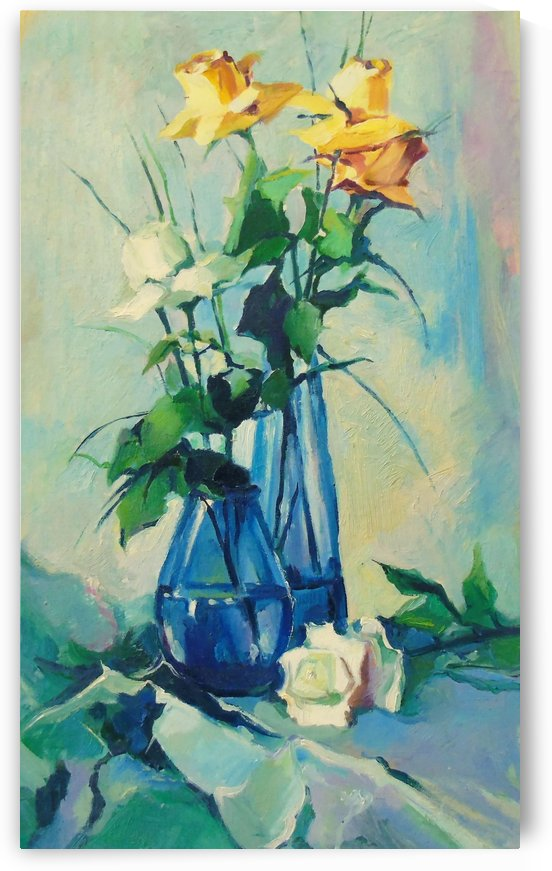 Bouquets of roses in vases  by Olha Darchuk