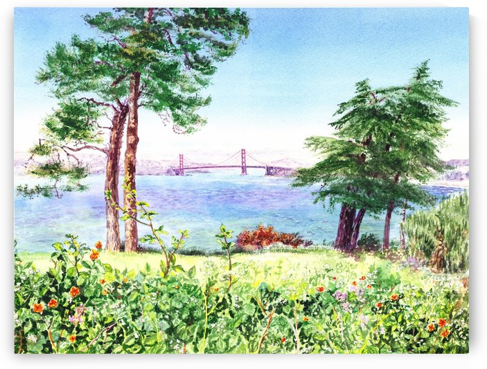 Golden Gate Bridge View From Lincoln Park San Francisco by Irina Sztukowski