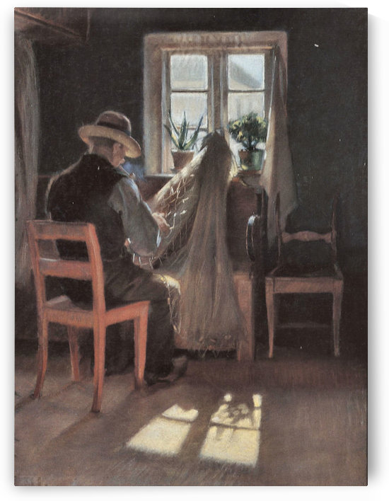 Fisherman repairing his nets by Anna Ancher by Anna Ancher