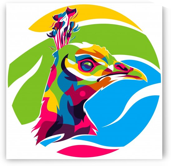 Colorful Peafowl Head by wpaprint