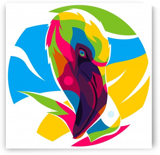 The Colorful Flamingo Head by wpaprint