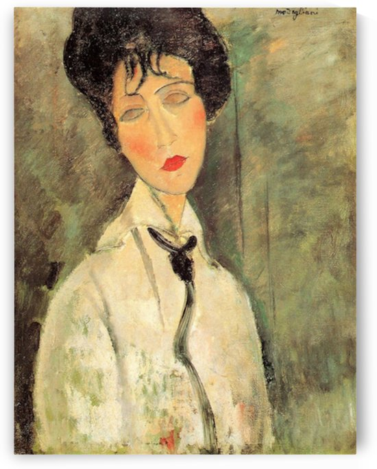 Modigliani - Portrait of a woman with a black tie by Modigliani