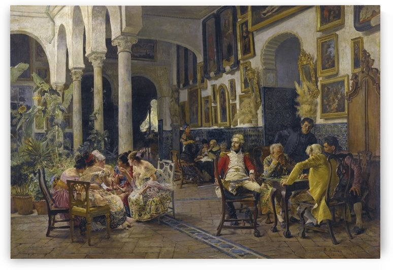 Conversation in a Sevillian courtyard by Jose Jimenez Aranda