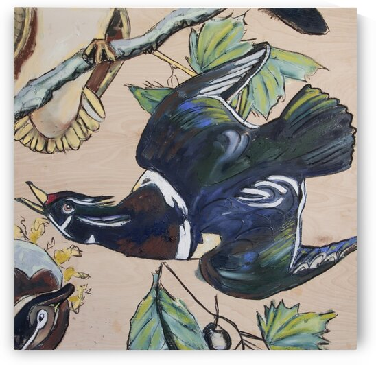 Louisiana Wood Duck Study on Wood by Caroline Youngblood